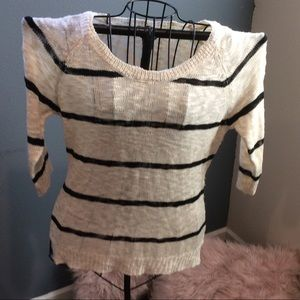 Cream with black stripes 3/4 Sleeves sweater